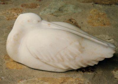1998 Sleeping Pelican. Chillagoe Marble. 45cm long