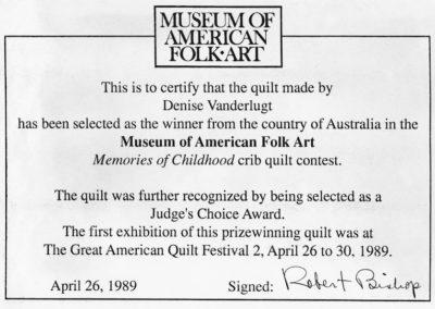 Museum Certificate 1989