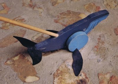 1982 Push-Along Toy, Whale. Painted Wood and Rubber Inner Tube