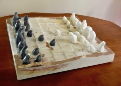 1972 Canadian Chess Set. Queensland Chillagoe Marble Board carved in 1995. 55cm square