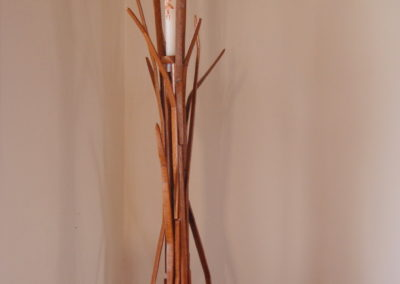 2012 Cane Candlestick Holder. Silky Oak, Mackay Cedar. Commissioned with Sugar Cane Theme for Catholic Church in Proserpine Qld. 206cm high