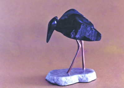 1988 Reef Heron Black Phase. Chillagoe Marble and carved Bronze. 14cm high