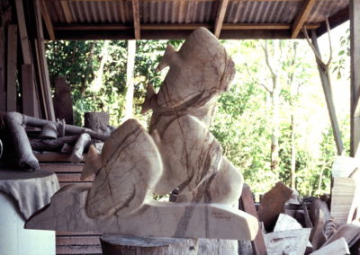 1993 Five Batfish. Chillagoe Marble. Commissioned. 83cm high