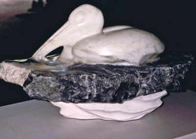1993 Reflection. Bajool Marble with Basalt Intrusion, one piece. 50cm long