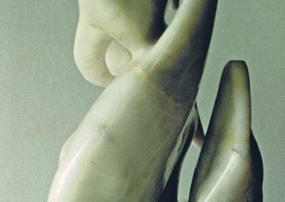 1994 Three Batfish. Chillagoe Marble. 75cm high