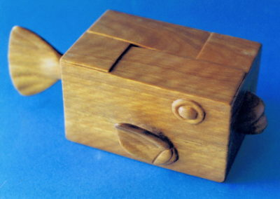 1996 Box Fish. Blue Gum. For 'Pun Intended' Exhibition. 20cm long