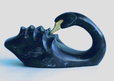 1996 Black Swan. Chillagoe Marble, carved Bronze beak. Commissioned. 23cm long