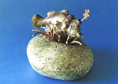 1996 Clown Fish. Kilkivan Marble, Bronze brazing rods, Steatite. For 'Pun Intended' Exhibition. 14cm high