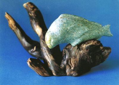 1996 Parrot Fish. Herberton Slate, Burdekin Plum. For 'Pun Intended' Exhibition. 12cm high