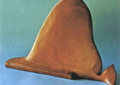 1996 Bat Fish. Blue Gum. For 'Pun Intended' Exhibition. 30cm long