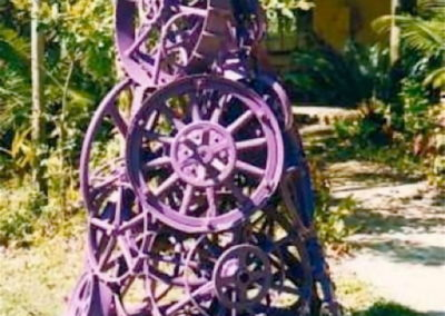 1996 Solution to the Universe. Collection of 42 wheels, painted. 220cm high. Assisted by Warwick McAllister