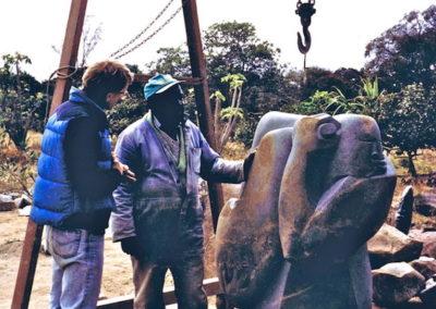 1997 Adriaan meets his Idol Nicholas Mukomberanwa in Zimbabwe