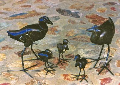 2000 Jacanas. Ten Mile Limestone and Black Steel. 'Lotus Birds', 2 adults, 3 chicks. Tallest bird 38cm high