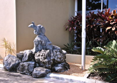 2001 Proserpine Rock Wallaby. Ten Mile Limestone.  Made in public at Airlie Beach for Whitsunday Centenary of Federation Sculpture Symposium.  Then located in Proserpine.