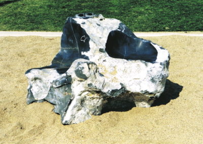 2001 Federation Seat. Ten Mile Limestone. Whitsunday Centenary of Federation Sculpture Symposium. Located at Airlie Beach Lagoon.