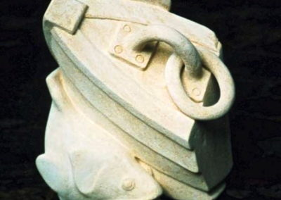 2005 Boat and Barra. Mount Gambier Limestone. 36cm high