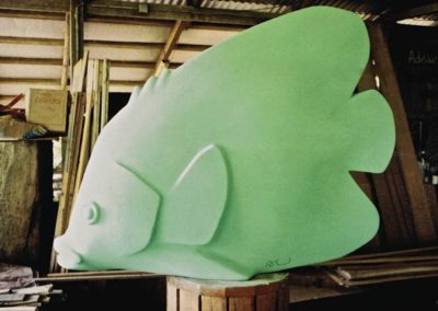 2005 Foam Fish. Refridgeration Foam. Commissioned for Reef Festival, Airlie Beach. 150cm long. Made into a number of Fibreglass fish, painted by shop participants