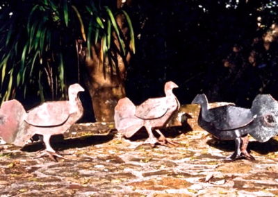 2007 Scrub Turkeys. Recycled Copper. Origami construction. 42cm long
