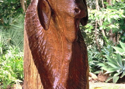 1992 Mr Les Lee Bull. Mackay Cedar and horns. Commissioned. 138cm high