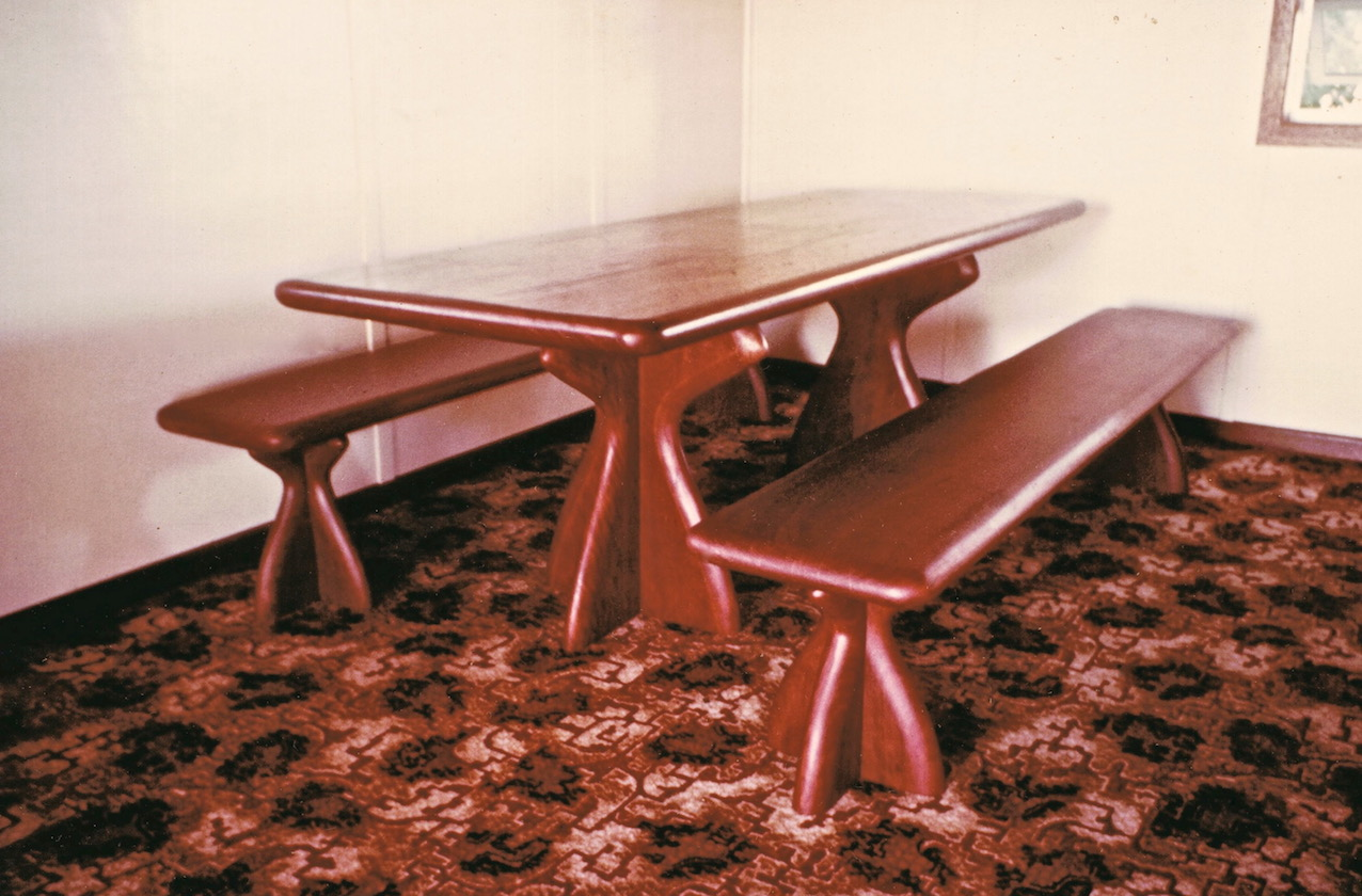 Blue gum table and benches