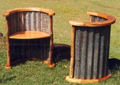 Hoop Pine and Corrugated Iron Tub Chairs. Commissioned
