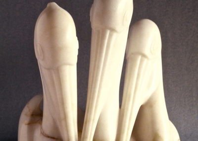 1991 Pelicans Fishing. Chillagoe Marble. Maquette for International Rodin Sculpture Competition in Japan. 35cm high