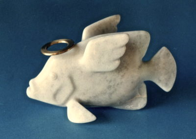 1996 Angel Fish. Chillagoe Marble and carved Bronze. For 'Pun Intended' Exhibition. 20cm long