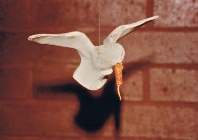 1975 Bone Bird. Cow Bone and Leather. 10cm long