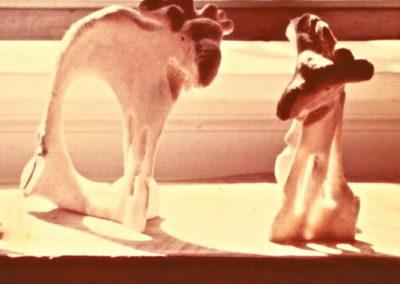 1976 Two Bone Moose. Cow Bone. 20cm high