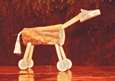 1982 Pro Hart Horse. Wood and Rope. 40cm high