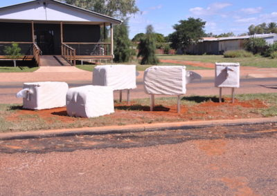 2012 Five Quilpie 'Woolbale Sheep'. Heledon Sandstone and Aluminium. Commissioned, Quilpie Cultural Society Qld. 85cm high