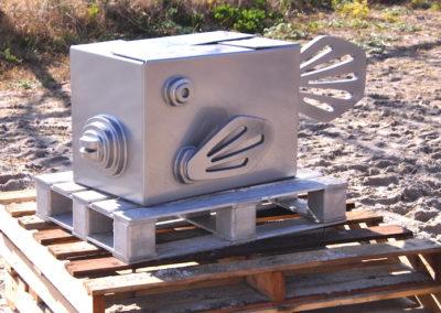 2012 Alu the Box Fish. Aluminium. Exhibited at SWELL Sculpture Festival 2012, Currumbin Qld. 61cm high