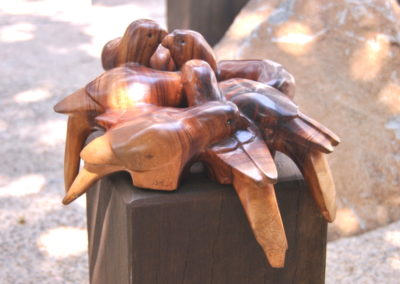 2013 Lorikeets. Camphor Laurel. Commissioned by Mackay Entertainment Centre. 23cm high