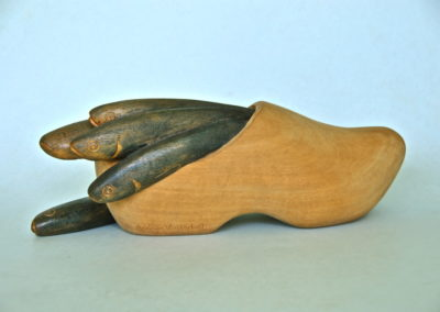 2006 Herring in a Clog. White Beech, painted. Dutch Element for 'Nature Transmogrified' Exhibition. 36cm long