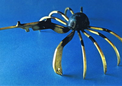 1996 Soldier Crab. Carved Bronze. For 'Pun Intended' Exhibition. 19cm long